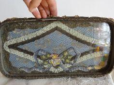 WOW Shabby Antique Vtg Metallic Net Lace Ribbonwork Bow French Vanity Tray | eBay