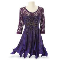 Violet Fireworks Tunic - Women's Clothing & Symbolic Jewelry – Sexy, Fantasy, Romantic Fashions Fancy Tops, Dressy Tops, Pyramid Clothing, Pyramid Collection, Purple Lace, Long Tops, Lace Sleeves, Violet, Decoration