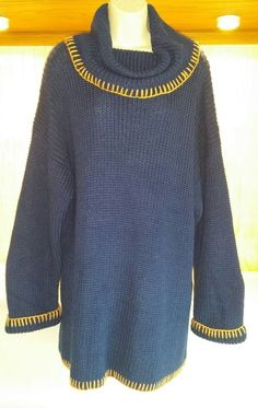 Nuggets Acrylic Knit Sweater Size Small Long Oversized Blue Cowl Neck #Nuggets #CowlNeck