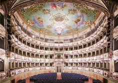 Available for sale from Sean Kelly Gallery, Candida Höfer, Teatro Comunale di Carpi I 2011 C-print, 70 × 93 in World Photography, Photography Awards, Theater, Ben Brown, School Photographer, Hermitage Museum, Venice Biennale, Female Photographers, Concert Hall