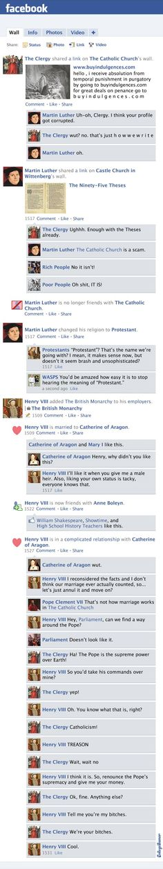 Facebook News Feed History of the World: Protestant Reformation Through Queen Elizabeth I - CollegeHumor Article