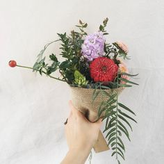 Red and purple Posy: Rose Hip, Stock, Chincherinchee, Aster, Pom Pom Gerbera, Gum, Peppercorn. Created by @apocketfulofroses.
