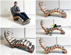 DIY: Wood Log Lounger #Chair, #Furniture, #Log, #Lounger, #Wood