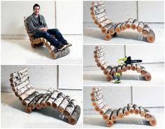 DIY: Wood Log Lounger #Chair, #Furniture, #Log, #Lounger, #Wood