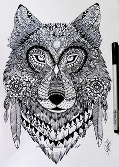 Zentangle wolf by itsalana.deviantart.com on @DeviantArt