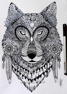Zentangle wolf by itsalana.deviantart.com on @DeviantArt