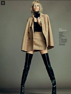 """fashion-boots: """"Anja Rubik in Carven Leather Thigh High boots. L'express Styles September 2014 Source: Twitter.com/BootLadyTeri23 """""""