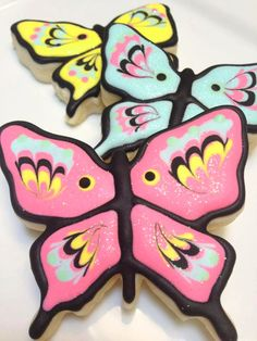 Items similar to 1 Dozen - Pink, Blue and Yellow Whimsical Butterfly Cookies on Etsy Iced Sugar Cookies, Candy Cookies, Valentine Cookies, Cut Out Cookies, How To Make Cookies, Decorated Cookies, Making Cookies, Cookie Favors, Heart Cookies