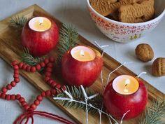 Svítící jablíčka můžete vmáčknout do sněhu na zápraží a přivádět tak hosty k domu. Krásně vyniknout i na prostřeném stole.