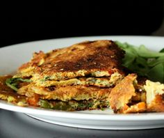 Chickpea flour Omelette with spinach, onion, tomato, bell peppers. Vegan Glutenfree Soyfree nutfree recipe