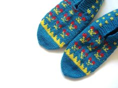womens knitted slippers red blue-green and by AnatoliaDreams