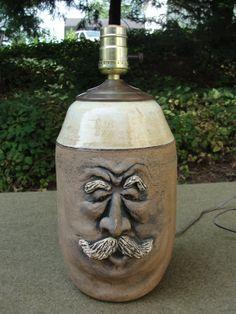 Unique Pottery Face Jug Lamp