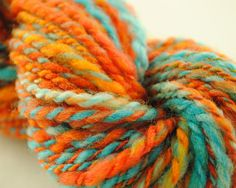 "Orange and Blue handspun wool art yarn ""Delicate Arch"" by @Stockannette, $18.00 on @Etsy"
