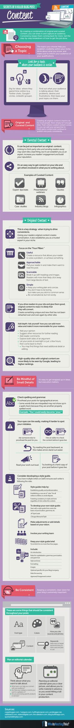 How to Write a Killer Blog Post -- Generating Remarkable Content.  A detailed infographic that outlines methods and organization for a content marketing strategy that works.  Useful for bloggers, business owners, entrepreneurs, and anyone who is trying to increase brand exposure using a blog.