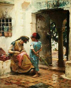 Algérie  -  Peintre American  Frederick Arthur Bridgman(1847-1928), huile sur toile  , Titre :  Leçon de couture