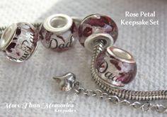 Rose Petal Keepsake Bead SEt http://abanister1.wixsite.com/morethanmemories