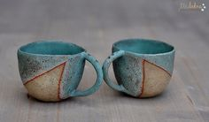 I love these little cups - the simple dip glaze is effective