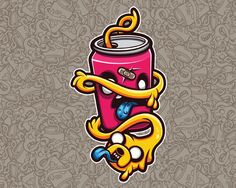Jake the Dog Sticker Character (Cartoon Vector) by Ink Heart, via Behance