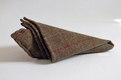 Pure wool pocket square. Windowpane handkerchief. Made in