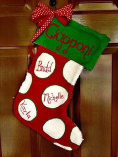 Burlap Christmas Stocking Door Hanger by ElleEsseDesigns on Etsy, $45.00