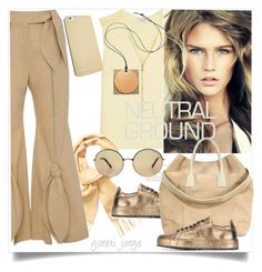 """""""Cool Neutrals"""" by goreti ❤ liked on Polyvore featuring Sandro, Yves Saint Laurent, Jil Sander, Michael Kors, Reed Krakoff, AERIN and neutrals"""
