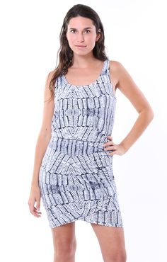 Tart Jan Ruched Dress in Stamped Feathers