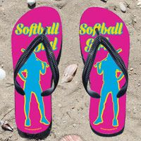 Softball Girl on Fuchsia Flip Flops - Kick back after a softball game with these great flip flops! Fun and functional flip flops for all softball players and fans.