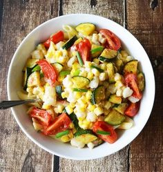 Penne with Grilled Creamed Corn, tomatoes and Zucchini {Vegan}