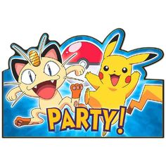 Invite 'em all with our Pokemon Invitations! Pokemon Invitations are blue and feature Pikachu, Meowth and a message reads 'PARTY!' in yellow lettering. Pokemon Party Invitations, Pokemon Party Supplies, Invitation Card Birthday, Postcard Invitation, Birthday Supplies, Birthday Ideas, 10th Birthday, Invites, Birthday Parties