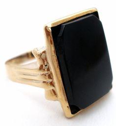 Art Deco Black Onyx Ring 14K Yellow Gold Size 8 Antique Jewelry Lady's Men's | Jewelry & Watches, Vintage & Antique Jewelry, Fine | eBay!