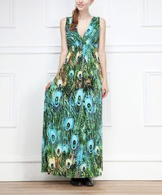 Look what I found on #zulily! Green Peacock Surplice Maxi Dress #zulilyfinds