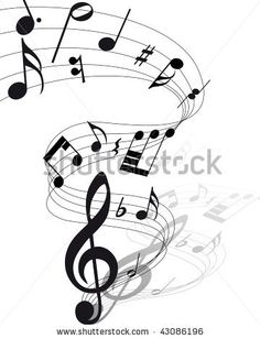 musical design elements from music staff with treble clef and notes in black and white colors. elegant creative design with shadows and isolated on white. Sketch Tattoo Design, Music Tattoo Designs, Music Tattoos, Tatoos, Music Drawings, Music Artwork, Music Notes Background, Banner Clip Art, Music Notes Art