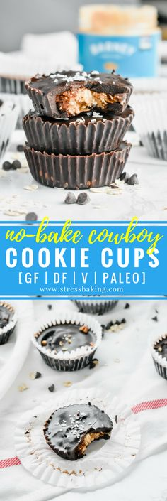 Paleo No-Bake Cowboy Cookie Cups: These cookie cups are like an almond butter cup and a cowboy cookie had a baby. Chewy oats, coconut and crunchy pecans are coated in smooth chocolate for a no-bake, no refined sugar, no gluten, no dairy, all paleo dessert! | stressbaking.com @stressbaking #stressbaking #cowboycookies #cookiecups #nobake #nobakedessert #dessert #almondbutter #paleo #glutenfree #refinedsugarfree #dairyfree #vegan