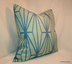 BOTH SIDES - ONE Kelly Wearstler Katana Jade Teal Pillow Cover with Self Cording