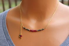 Hematite Necklace Ruby Necklace Elegant Gemstone Necklace Gold Filled Beaded Necklace Womens Holiday Jewelry Gift For Her Modern Necklace Hematite Necklace, Ruby Necklace, Ruby Jewelry, Diamond Pendant Necklace, Bar Necklace, Boho Jewelry, Jewelry Gifts, Beaded Jewelry, Handmade Jewelry