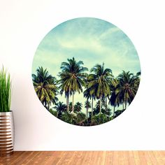 Palm Trees Circle Wall Decal