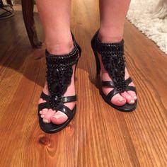 💕Designer Ann Marino embellished heels💕 Designer heels by Ann Marino. Embellished with black jewels Ann Marino Shoes Heels