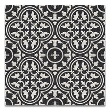"""Casa 8"""" x 8"""" Handmade Cement Tile in Black and White"""