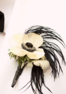 white anemone wedding flower boutonniere, groom boutonniere, groom flowers, add pic source on comment and we will update it. www.myfloweraffair.com can create this beautiful wedding flower look.