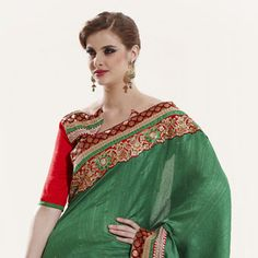 #Green Art #SilkSaree with Blouse