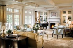Van-Millwork-Meeting-House-Club by Boston Design Guide, Cauffered Ceiling, Ceiling Ideas, Ceiling Decor, Room Interior, Interior Design, Home And Living, Living Rooms, Family Rooms, Living Area