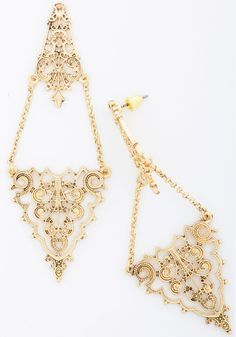 Find Your Fancy Earrings. Complete every elegant ensemble with these golden dangling earrings! #wedding #bridesmaid #modcloth
