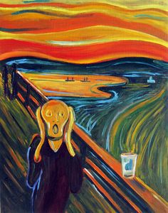 """FREE SHIPPING! Beer Oil Painting Inspired by Edvard Munch called """"The Scream over an Empty Pint"""" by Scott Clendaniel."""