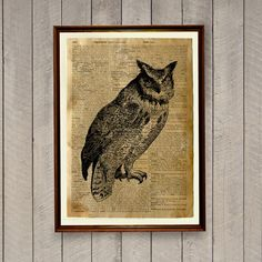 Cute 8.3 x 11.7 inches (A4) rustic decor. Owl poster on a handmade antique dictionary page.