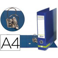 Practico y economico archivador A-4 con mecanismo de palanca fabricado en cartón forrado plastificado sin ranura, en color azu
