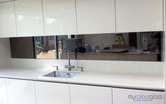 silver tinted mirror splash back - Google Search