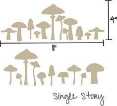 Mushroom vinyl wall decals - Set of 30 - Choose one color. $6.00, via Etsy.
