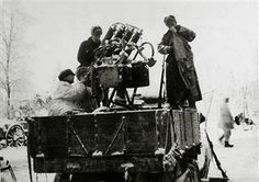 17th January 1940, Finnish soldiers show off one of their prize captures, a four barelled anti-aircraft machine gun mounted on a lorry, which was captured from the Russians, The Finland army had routed the Russian army on the Suomassalmi front - pin by Paolo Marzioli