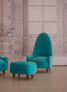 Turquoise | Aqua | Teal | home decor; armchairs and footrest
