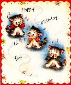 Vintage Birthday Card Three Kittens. $4.00, via Etsy.